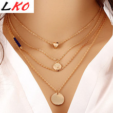 Buy LKO HOT LOVE Coin Pendant Necklace charm gold chain necklace multi layer statement necklaces amp pendants women summer jewelry for $2.10 in AliExpress store