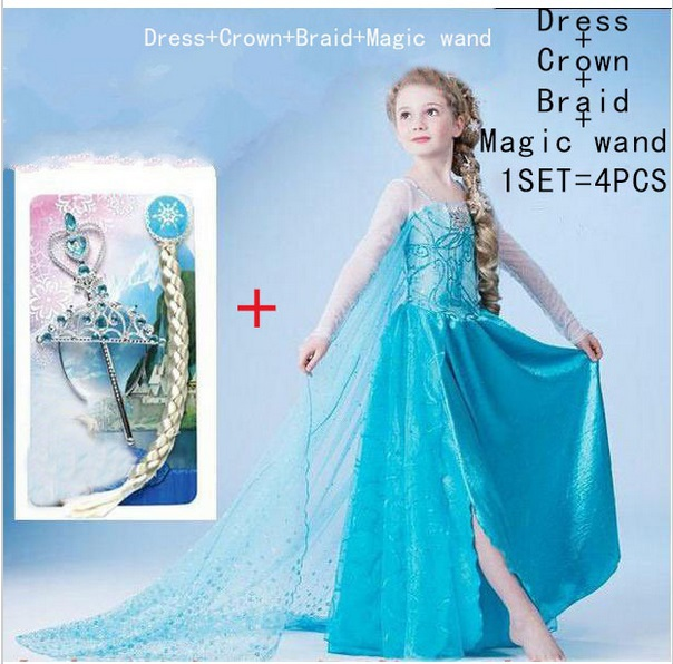 Frozen 2015 elsa dress girls Dress Custom anna Cosplay Dress kid fantasia vestidos infants Dress Princess Costume for Children(China (Mainland))
