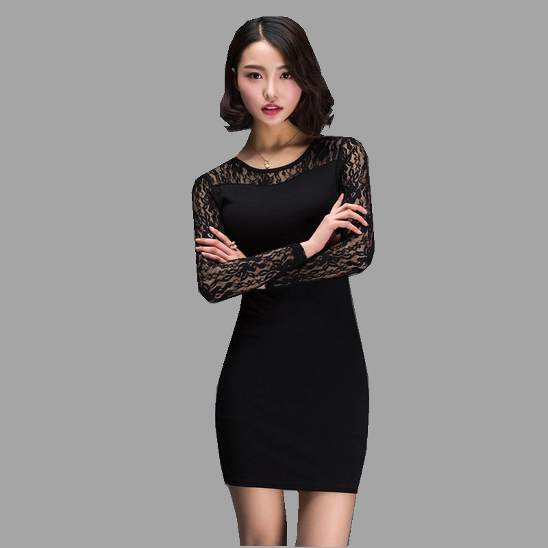 Autumn New Fashion Women Dress O-neck Pullover Long sleeve Lace Package hip Render Dress Pure color Slim Big yards Dress NZ151(China (Mainland))