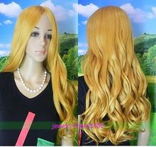 Wholesale& heat resistant LY free shipping>>>NEW WIG LONG LIGHT GLONDE BLONDE CURLY WOMEN WIG