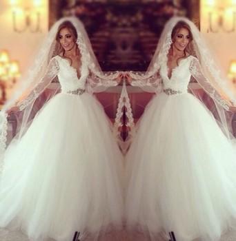 Robe De Mariage 2015 robes De mariée islamique avec Hijab manches ...