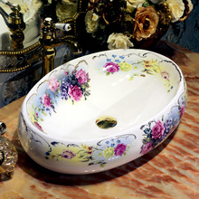 Oval Jingdezhen Bathroom ceramic sink wash basin Counter Top Wash Basin Bathroom Sinks antique sink vanity(China (Mainland))