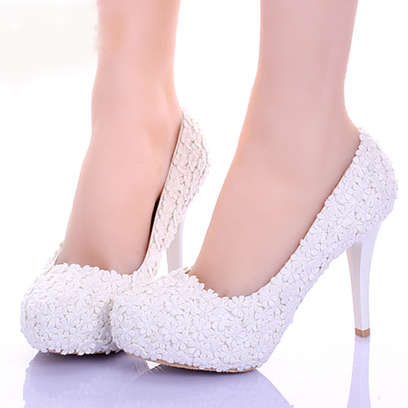 White lace flower formal dress shoes comfortable for Wedding dress and boots