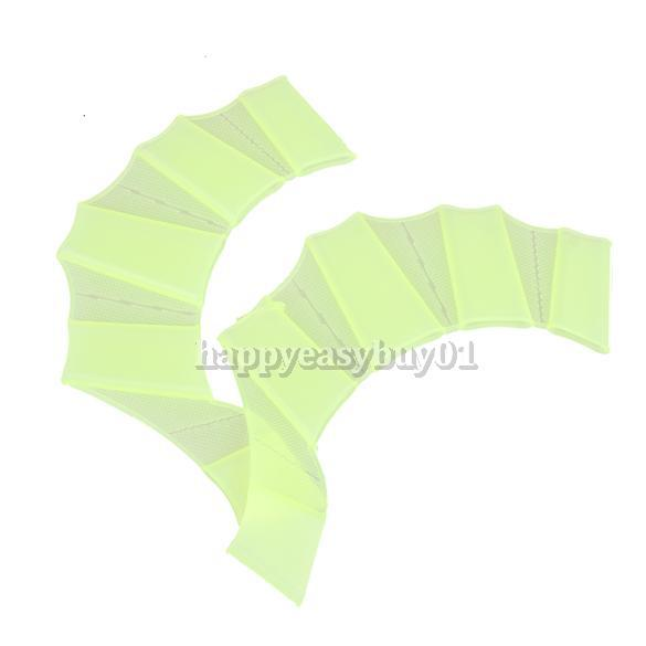 Silicone Green Swimming Fins Swim Webbed Gloves Hand Flippers Paddle Size S US#V(China (Mainland))