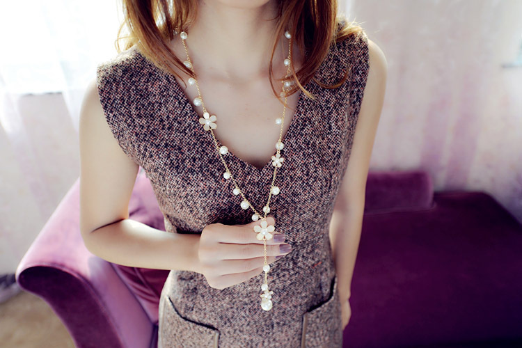 1 шт. корейский женщин мода сымитированная перла цветы длинное ожерелье украшения золото-тон сладкий свитер цепи colar длинное ожерелье