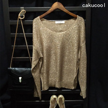 Buy Cakucool Hot Women gold lurex Knit Tops Metal Sequined Sweaters Long Sleeve Big O-neck Casual Bling Ladies Jumpers Tops 6 colors for $28.90 in AliExpress store