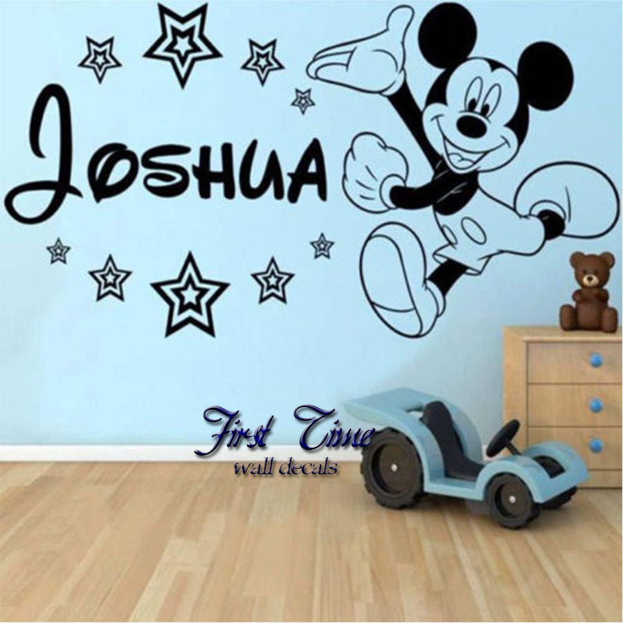 personalised name mickey mouse wall sticker cartoon baby personalised kids name horse vinyl wall decal stickers for