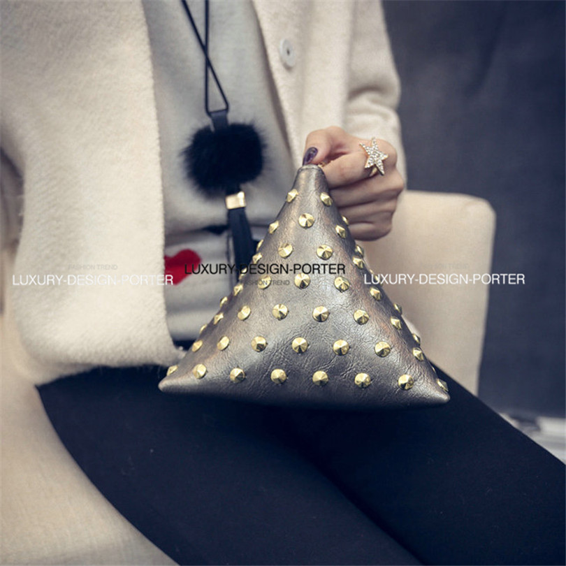 Designer Small Pyramid Shape Evening bag Punk Rivet chic leatherette Clutch Handbag Wristlet Bolsa(China (Mainland))