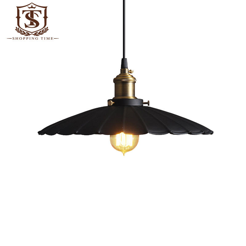 retro iron pendant lamp industrial style hanging lighting black shade
