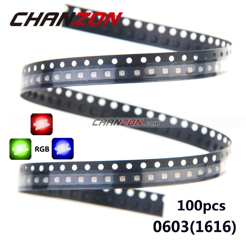 100pcs 0603 (1616) RGB LED Tricolor Red Green Blue 0606 Surface Mount Chip SMD SMT Common Anode LED Light Emitting Diode Lamp(China (Mainland))