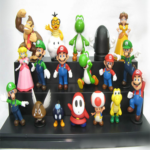 18pcs/set Super Mario PVC Action Figures toy Bros yoshi dinosaur Peach toad Goomba SuperMario Wholesale(China (Mainland))