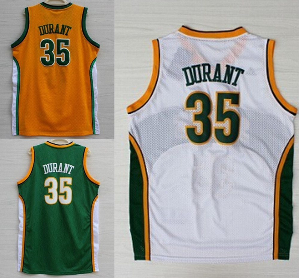 Cheap #35 Kevin Durant jersey Green White Orange Color throwback Basketball Jersey Embroidery Logos(China (Mainland))
