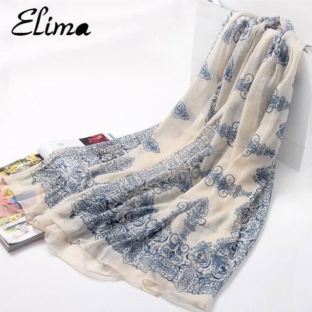 Elima 160 * 70 см платки 2015 мода дизайнер печать кружева all-матч длинный шифоновый шарф женщины шали и шарфы 1903