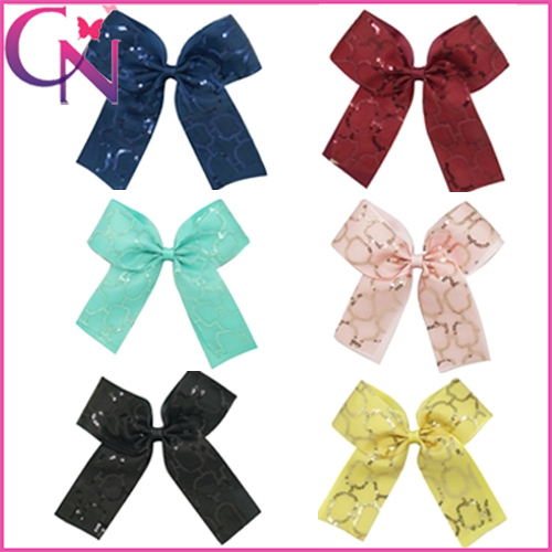 Handmade Childrens Hair Accessories Girls Grosgrain Ribbon Organza Hairbows With Clip Baby Hairbow Free Shipping CNHBW-1504131-0(China (Mainland))