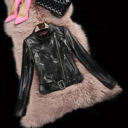 Motorcycle leather jacket women 2015 Spring  Autumn Winter Black Streetwear Full Short Thin sheep leather Mandarin Collar DFF181Одежда и ак�е��уары<br><br><br>Aliexpress
