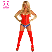 Gold PVC/Red Leather Party Nightclub Plus Size Sexy Woman Cosplay Costume Superhero Superwoman Adult Costumes Halloween Feminina