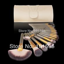 New!18pcs Cosmetic Brush Set 18 PCS golden Makeup Brushes Kit Foundation Eyeshadow Brush Set With Beige Case Free Shipping