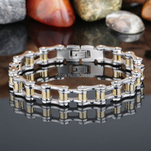 Fashion Men Classic Bicycle Chain Bracelet Stainless Steel Silver Gold Link Moter Bike Chain Bracelet Pulseira Jewelry(China (Mainland))