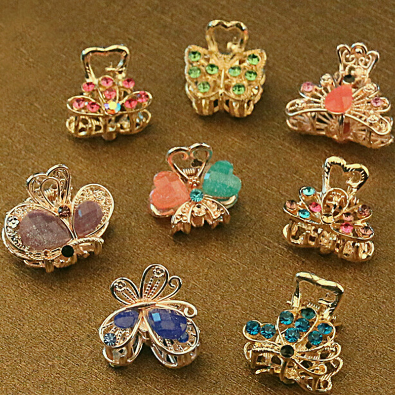 12PCS/Lot Vintage Metal Butterfly Mini Hair Claws Clip Crystal Rhinestone Hairpin Hair Jewelry Charm Hair Accessories For Women(China (Mainland))