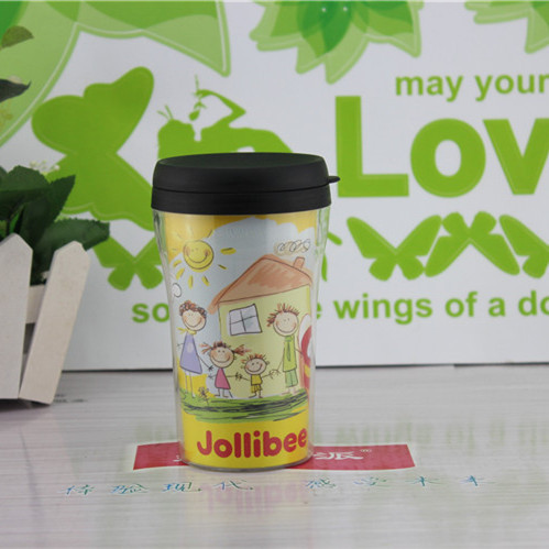 small double wall acrylic plastic cups Insert the advertising paper ,coffee cup with lid BPAfree leakproof seal water bottle mug(China (Mainland))