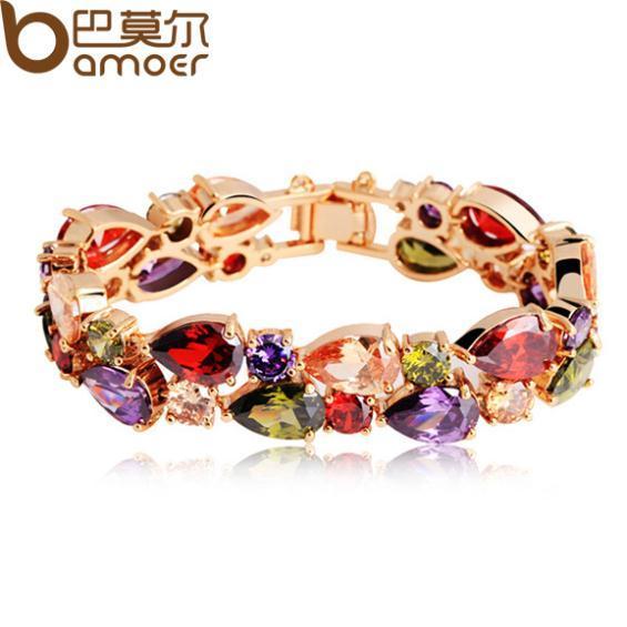 BAMOER High Quality  Rose Gold Plated Mona Lisa Zircon Bracelet for Women Multicolor CZ Stones Special Store JIB001