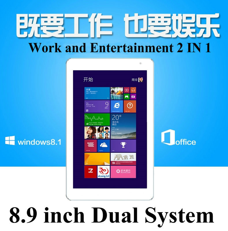 """8.9"""" inch Dual System Microsoft Windows 10 and Android 4.4 Quad Core 2 IN 1 System Netbook 32GB Tablet PC Mini Netbook Computer(China (Mainland))"""
