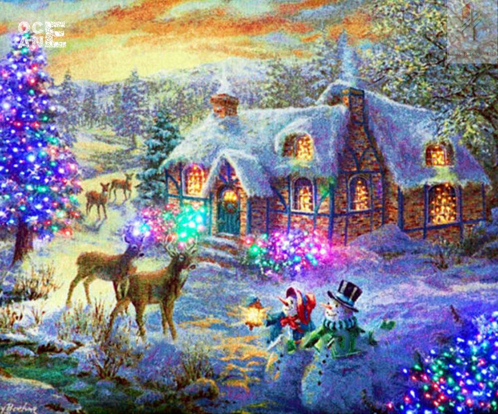 Christmas night diamond painting house 3d home decoration painting