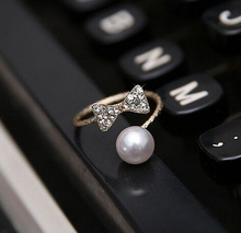 2015 Fashion jewelry Silver Plated Crystal Pearl cute Bowknot Adjustable Rings