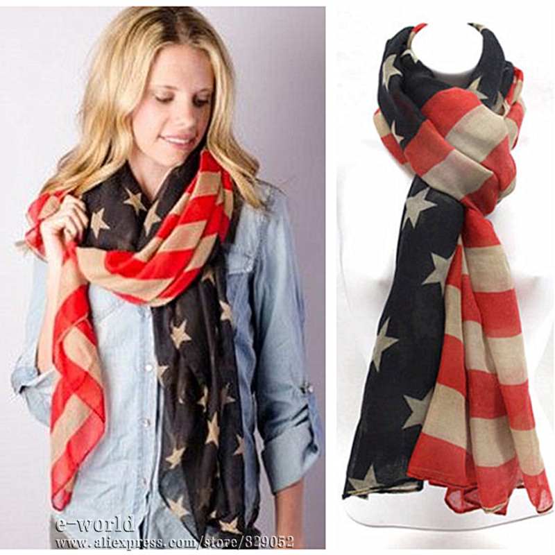 American Flag Scarf Vintage USA Flags Infinity Scarves 4th of July Women Square Scarfs Shawls Hijab Girls Accessories A0408(China (Mainland))