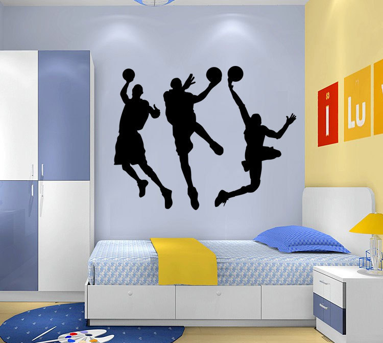 playing basketball wall stickers for classroom students room decorations sport decals wall art diy children sticker 9044(China (Mainland))