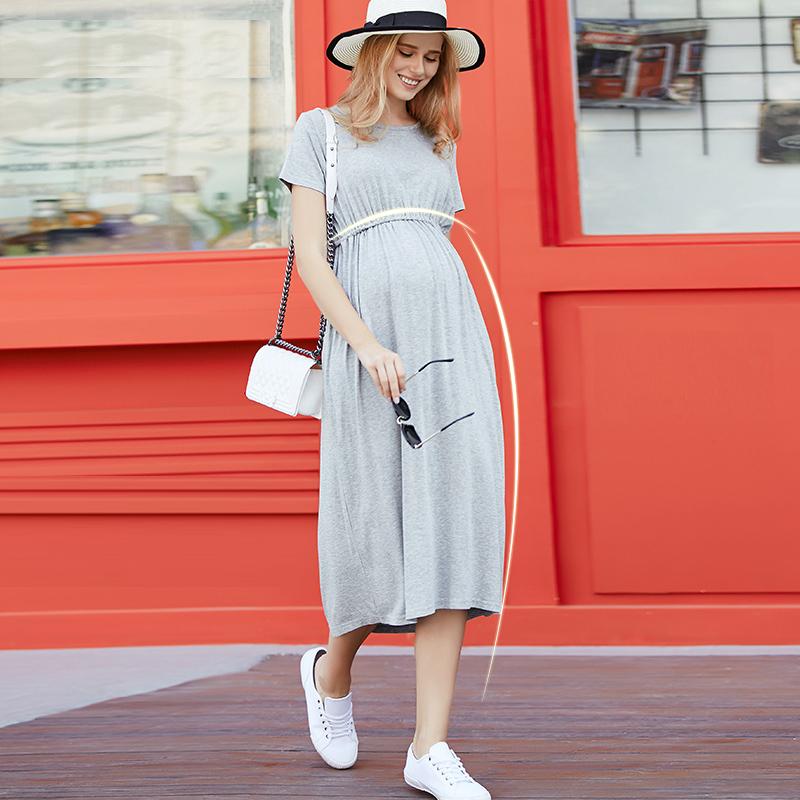 MamaLove summer Loose maternity clothes pregnant dress pregnancy clothes for Pregnant Women maternity dresses M L XL XXL 3XL 4XL(Hong Kong)
