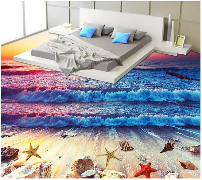 3 d pvc boden wasserdicht tapeten sunset beach wasserwellen 3d badezimmerbodenbelag gem lde. Black Bedroom Furniture Sets. Home Design Ideas