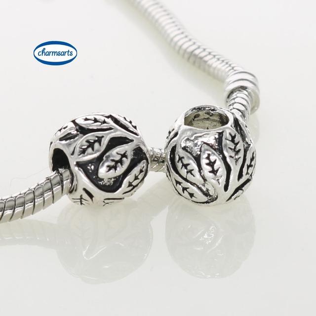 Старинное серебро подвески лист цветок круглый бусины для женщин браслет DIY мода ...