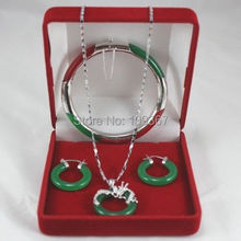 Natural Brand Name Tibet Bracelet Pendant Earring green Jade Jewelry Set  Silver Hook shipping free(China (Mainland))