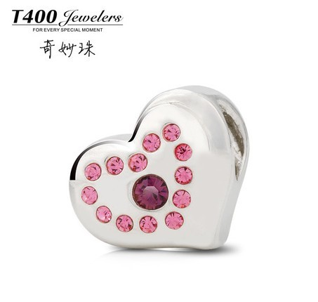 Valentine's day gifts T400 made with swarovski Elements,925 sterling silver,fit with European style bracelets#Q035,free shipping(China (Mainland))