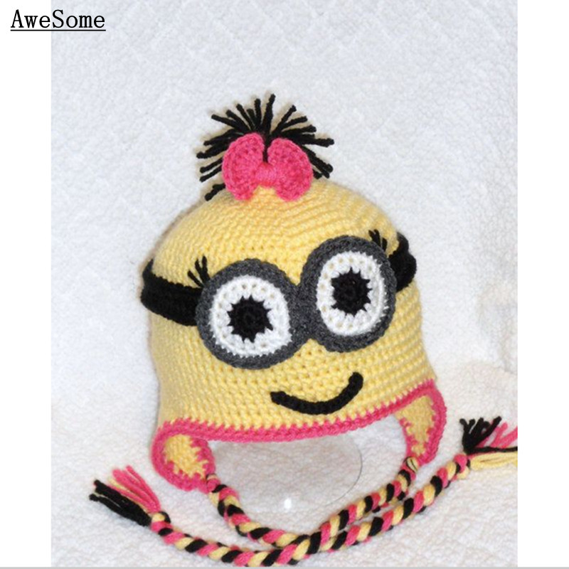 100% Pure Handmade Free post!!Girl Yellow Minion with Goggles Baby Halloween costume Photography Prop Toddler Knit Crochet Hat(China (Mainland))