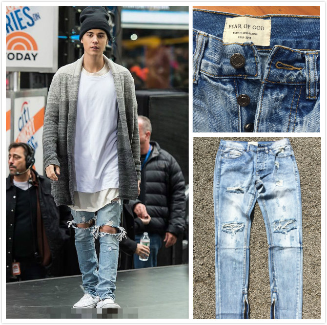 2016 Men Severe tattered washing Limited customized version hip hop fear of god just biber zippers skinny slim Elasticity jeans(China (Mainland))