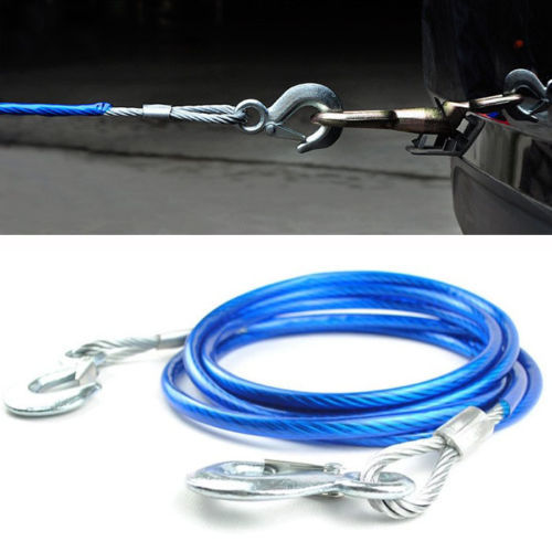 New 5000kg Tow Rope Traction Rope Heavy Duty Steel Hooks Emergency 10mm x 4m(China (Mainland))