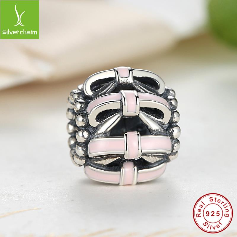 Real 925 Sterling Silver Openwork Bow Charm Bead Pink Enamel Fit Original Pandora Bracelet Authentic Jewelry(China (Mainland))