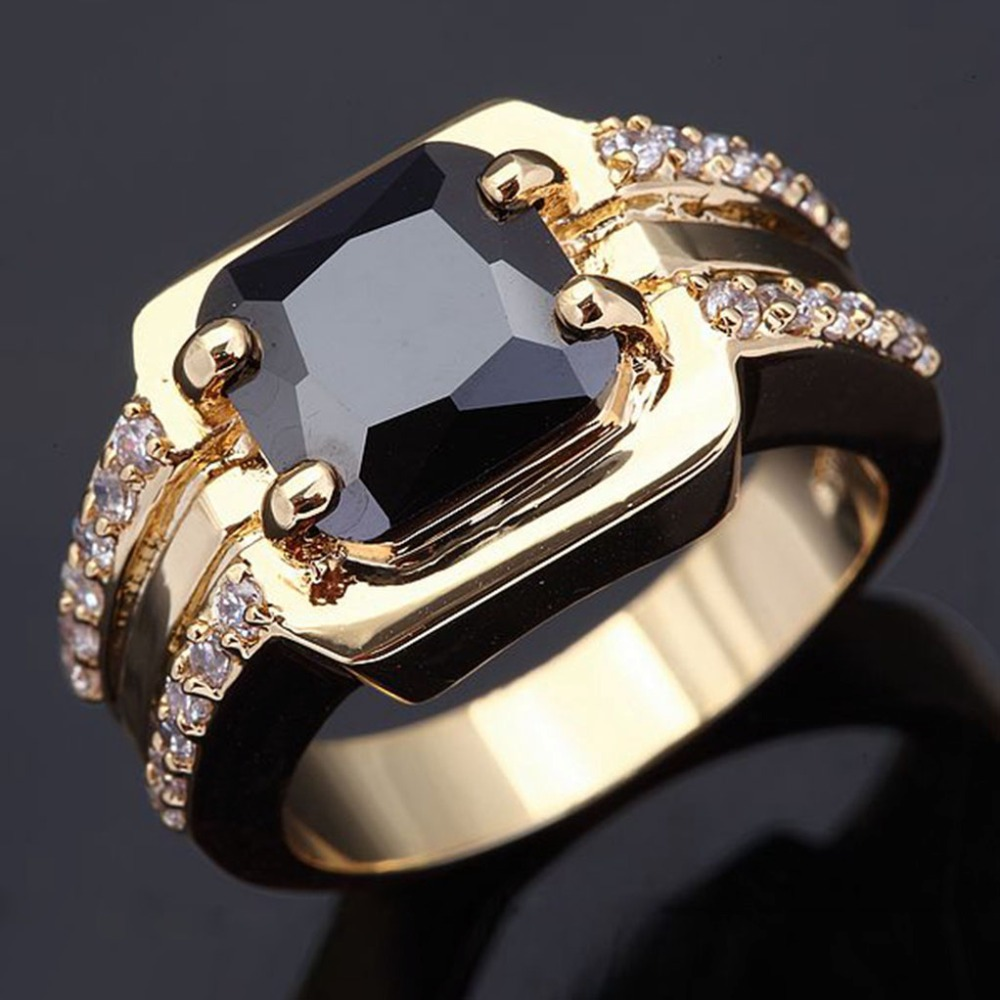 Wholesale Classic Retro men's rings super black zircon gold jewelry 18 K gold plated rings for men luxury Big male Ring R005(China (Mainland))