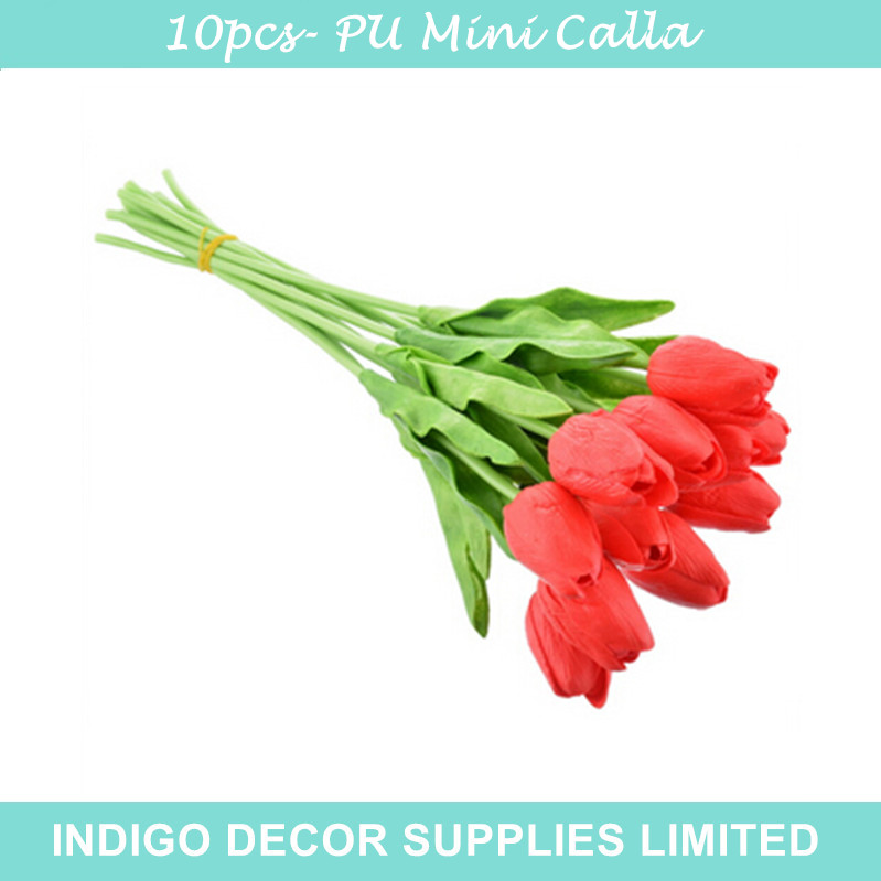 10pcs/Lot -High Quality Tulip Home Decorative Flower PU Flower Real Touch Artificial Flower Wedding Flower Party Free Shipping(China (Mainland))