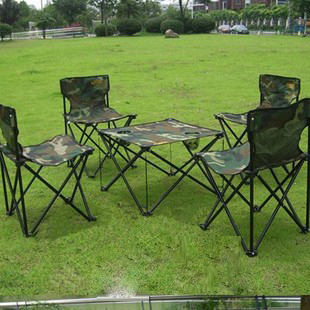 Outdoor Furniture Folding Table And Chair Set Army Style Camouflage Rectangle Convenient Casual Fabric For Barbecue 5pcs 08(China (Mainland))