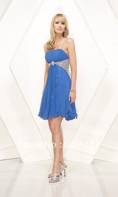 2012 CD028 Poly chiffon beaded detachable Halter beaded straps cocktail dress with ruched bust line and center detachable brooch