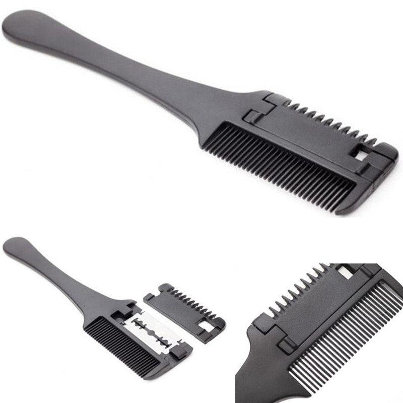 1 Pcs Quality Professional Hair Razor Comb Black Handle Hair Razor Cutting Thinning Comb Home DIY Thinning Trimmer Inside Blades(China (Mainland))