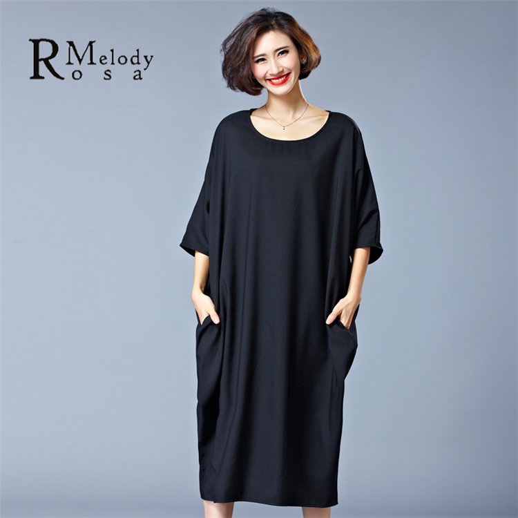 Women's Plus Size Dresses Casual Women Pure Color Red Black Short Sleeve Brief Big Sizes Dress(R.Melody HS0027)(China (Mainland))