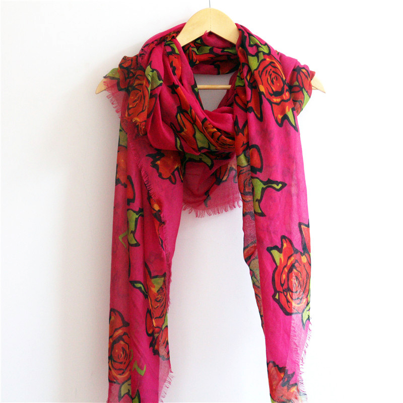 New 2014 Rose fashion design brand scarf(with logo)/200*135 cm large size/100% cotton women scarf/match with casual dress(China (Mainland))
