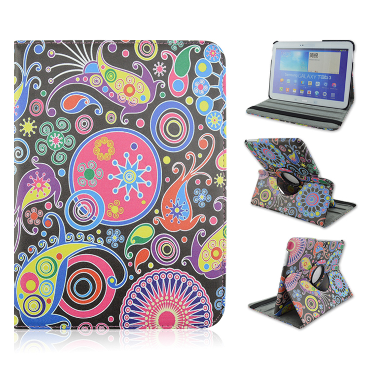 """For Tab 4 10.1"""" Rotatable Pretty Undersea World Stand Leather Folding Folio Cover Case For Samsung Galaxy Tab 4 T530 T531 T535(China (Mainland))"""