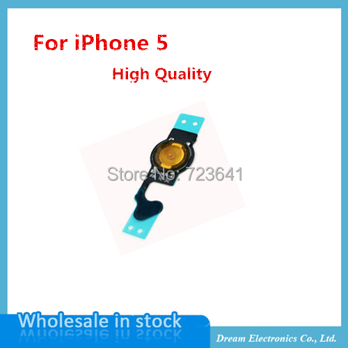 50 pcs/lot Wholesale NEW Repair Parts For iPhone 5 5g Home Button flex cable Mobile phone home flex cable Free Shipping(China (Mainland))