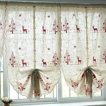"""Christmas deer Curtains  decoration/ornament, SIZE:33X90"""",Embroidery curtain panel ,double pleat,Rod pocket"""