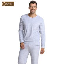 Qianxiu Brand Pajamas Knitted Bamboo Fiber Home Dress Plus Size Men Pajama Set Free Shipping(China (Mainland))